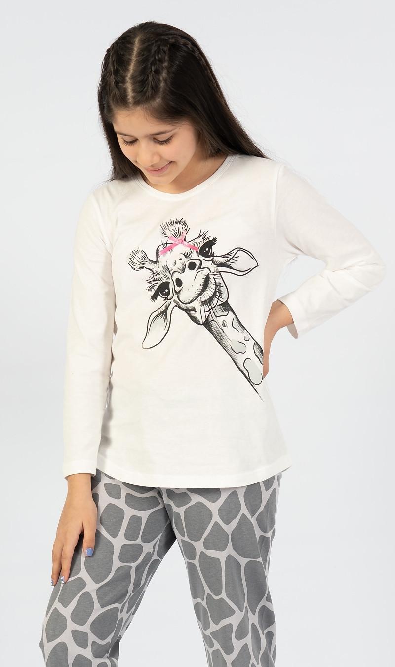 Detské dlhé pyžamo Veľká žirafa biela 15 - 16