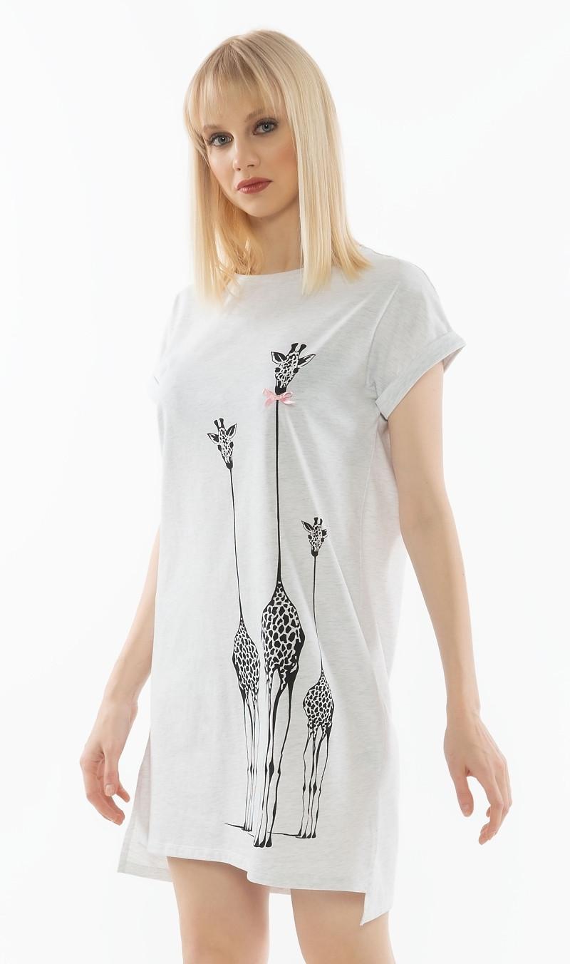 Dámska nočná košeľa s krátkym rukávom Klára svetlo šedá S