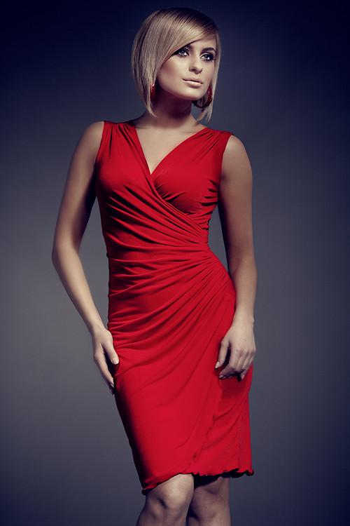 Dámske šaty 053 červené - Figl L