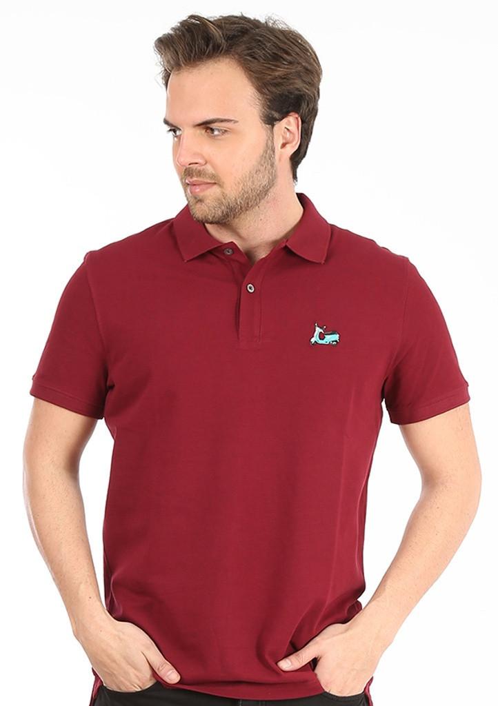 Pánske polo tričko John Frank JFTPOLO10 M bordó