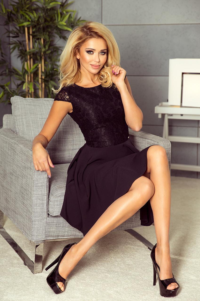 157-2 Čierne rozšírené šaty MARTA s čipkou XL