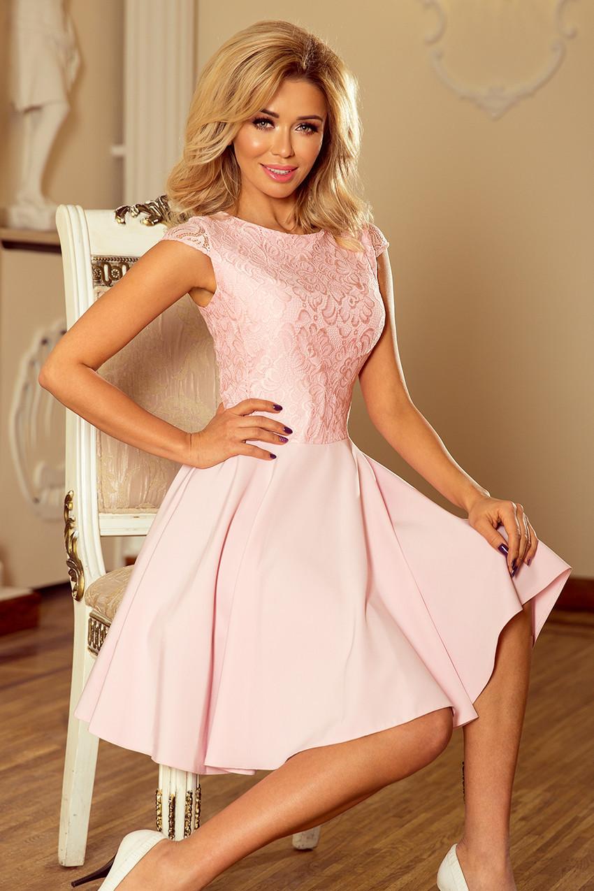 Dámské šaty v pastelově růžové barvě s krajkou 157-4 MARTA M 9be8c7431b