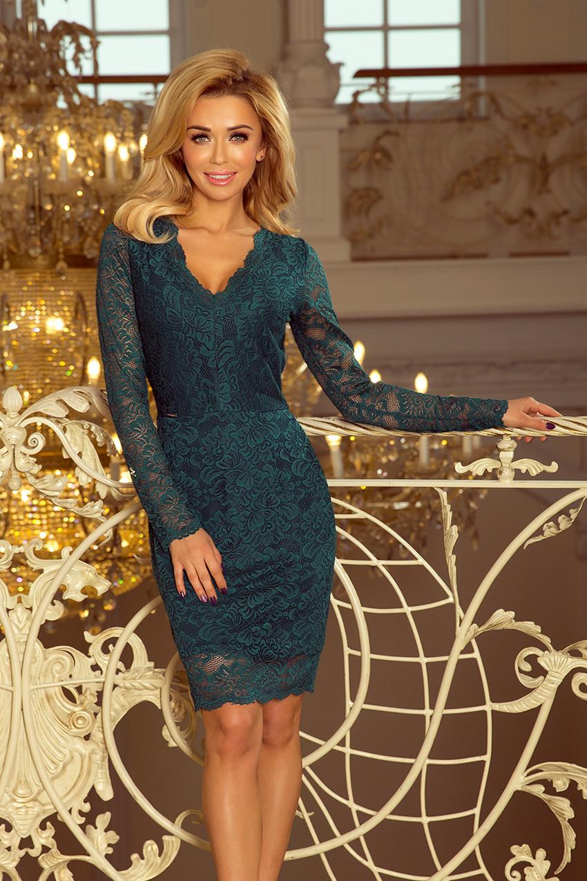 Zelené dámské krajkové šaty s dlouhými rukávy a výstřihem 170-3 XL 14c8c0ef135