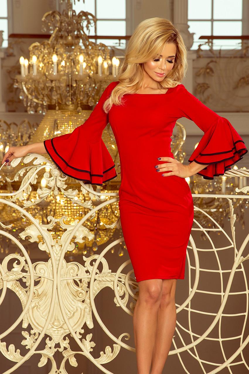 Červené dámské šaty se španělskými rukávy 188-1 CARMEN L 24d6aa93907
