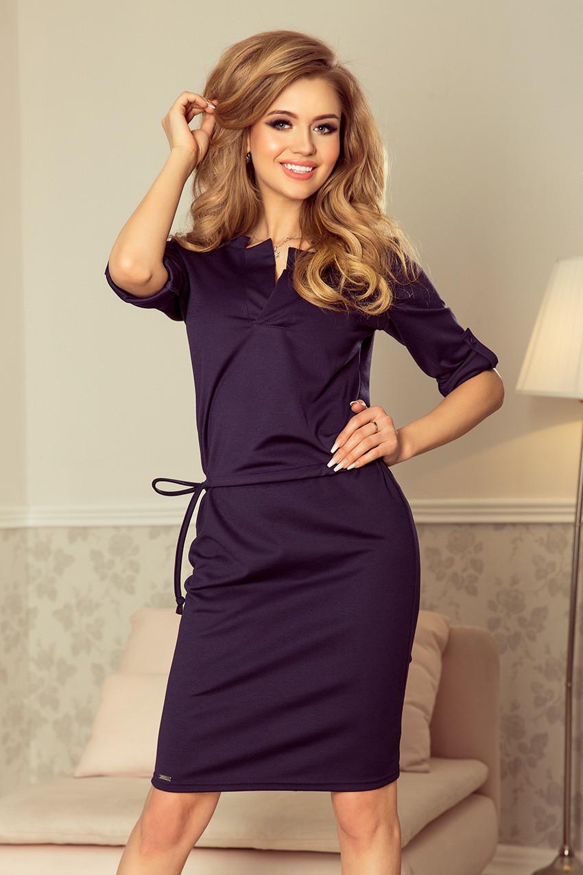 Tmavě modré dámské šaty s límečkem 161-7 AGATA S 54e238425c