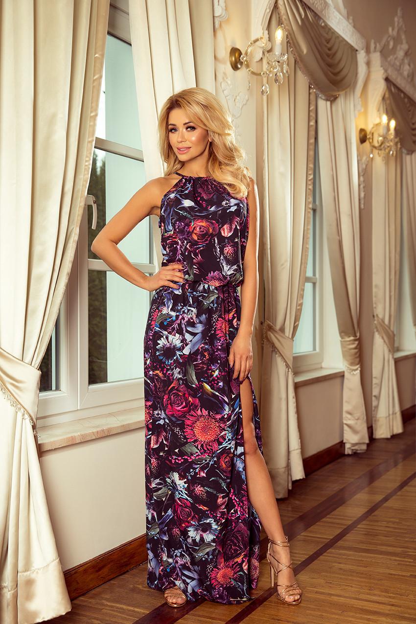 9a3ea6fe91a Dámské maxi šaty se vzorem fialových květů