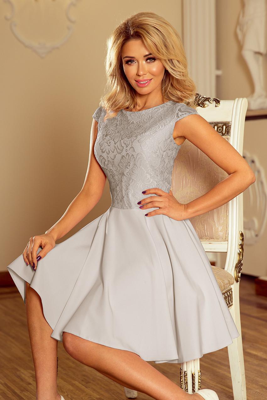 ceea76cd982 Světle šedé dámské šaty s krajkou 157-6 MARTA S