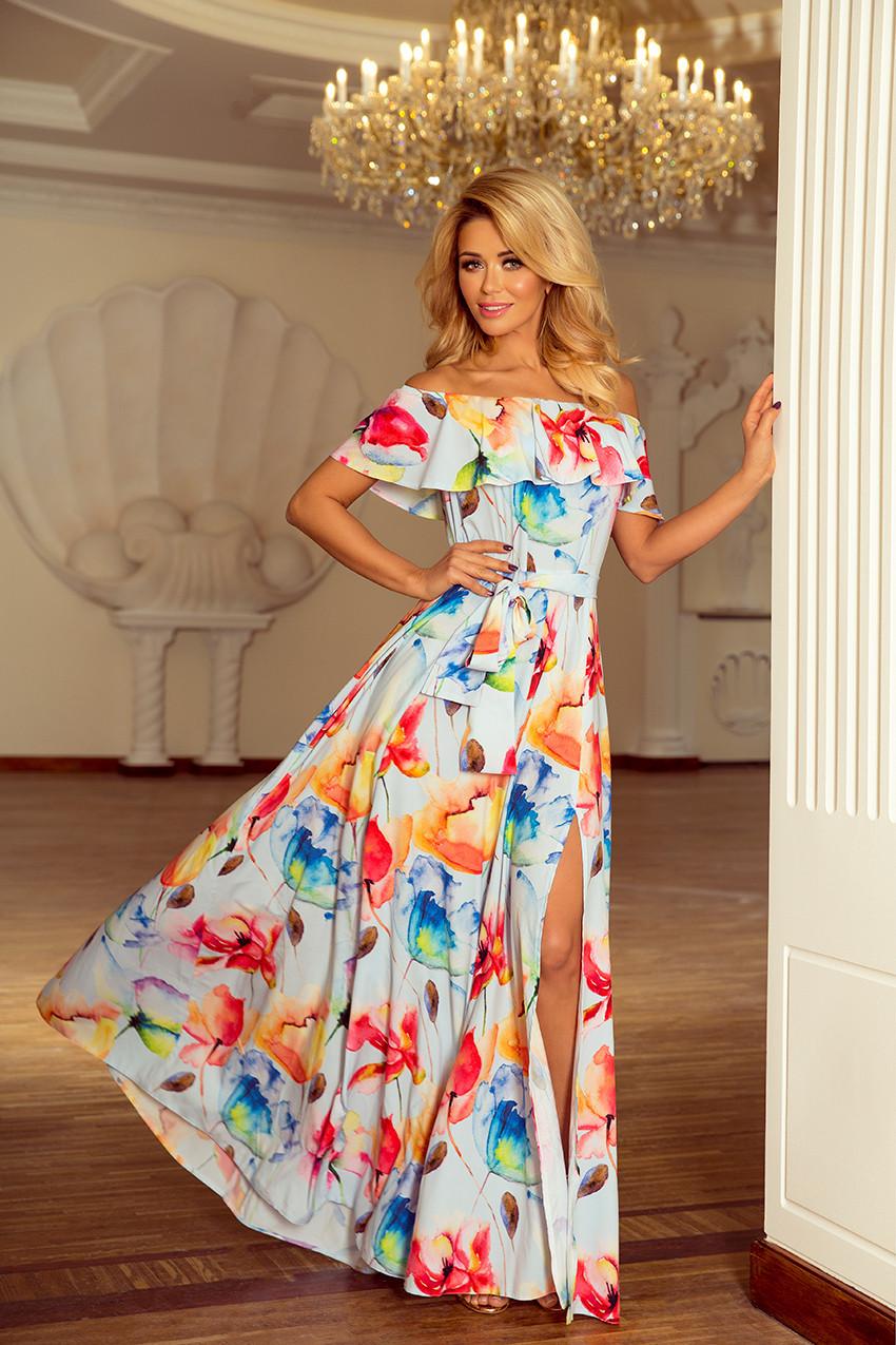 5aaf12788652 Dlouhé dámské šaty se vzorem barevných malovaných květů a s výstřihem ve  španělském stylu 194-1