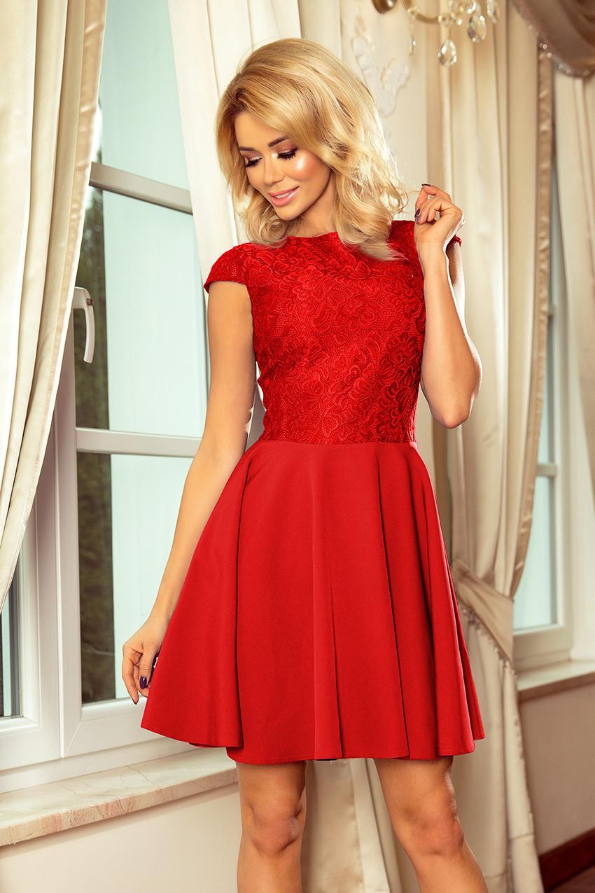 bc196731a0fc Červené dámské šaty s krajkou 157-8 MARTA M