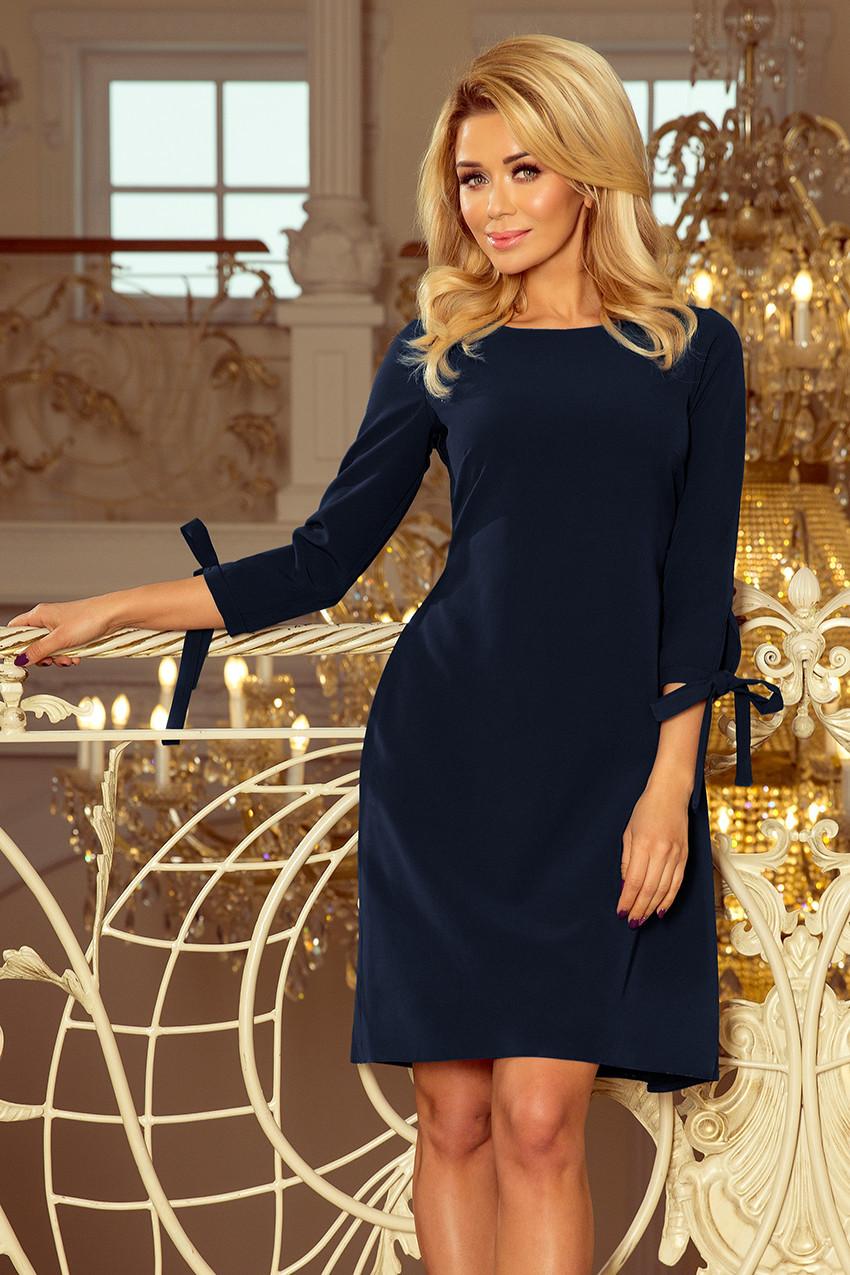 5bcce3ed15e1 Dámské tmavě modré šaty s mašlemi 195-5 ALICE L