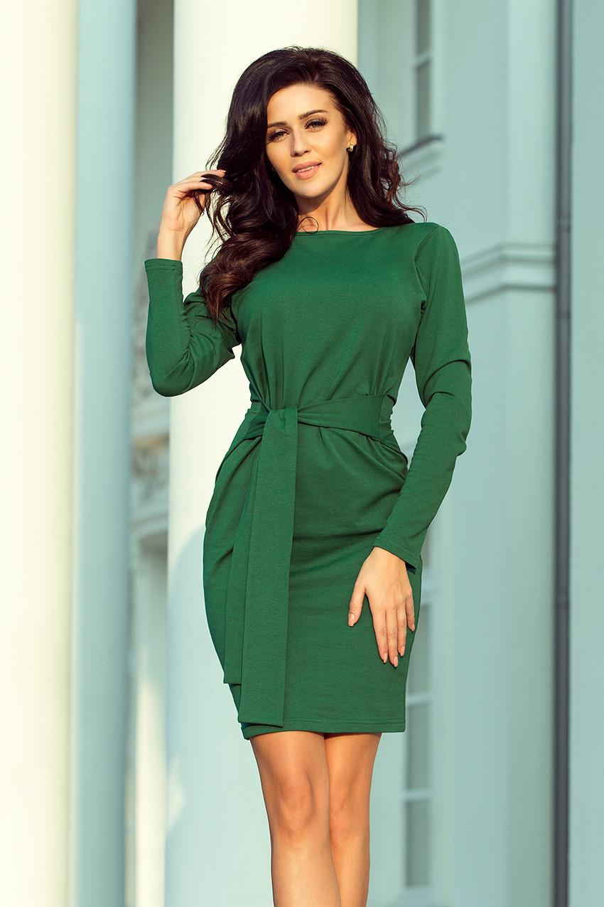 9c6ba7120b9b Dámské šaty v lahvově zelené barvě se širokým páskem k zavazování 209-2 XL