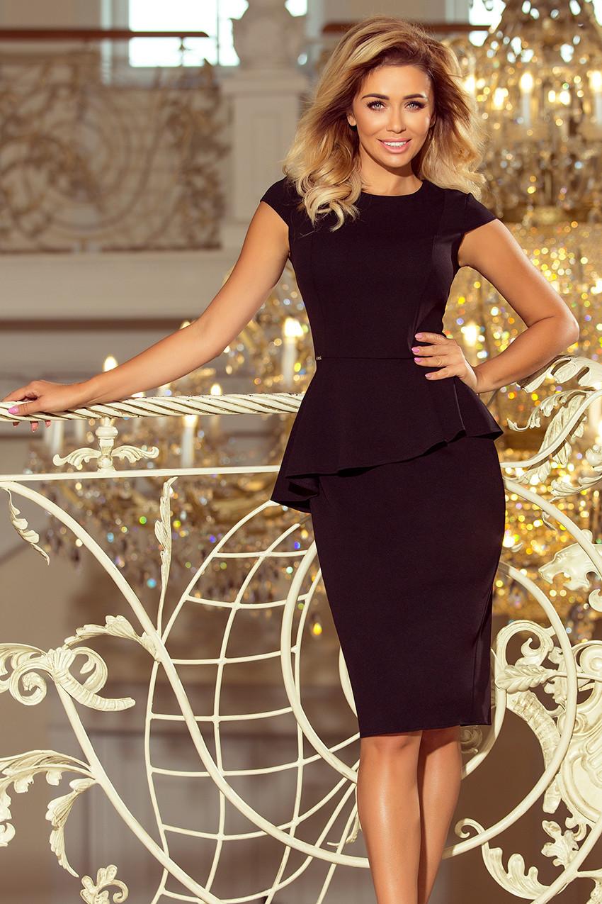 fb50fd9d68d0 Elegantní černé dámské midi šaty s volánkem 192-3 M