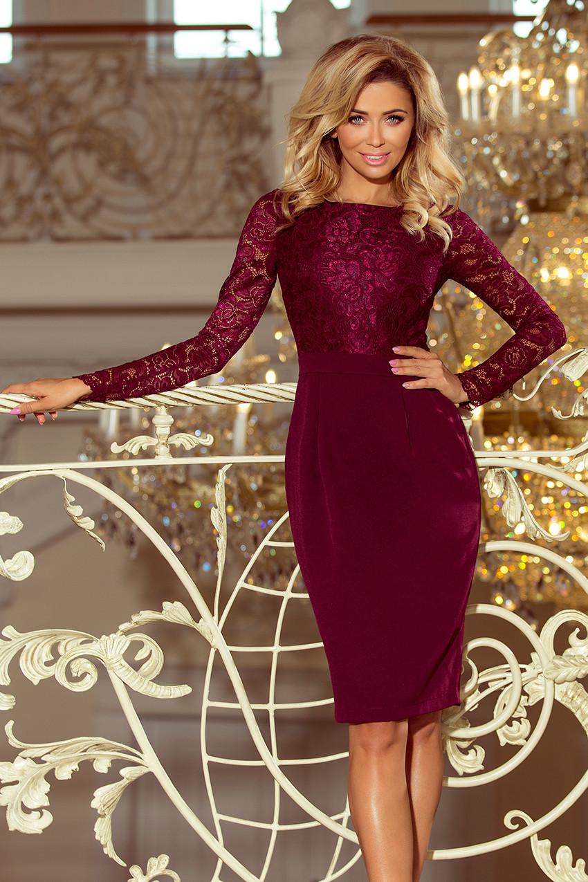 Elegantní tužkové šaty v bordó barvě s krajkou 216-3 EMMA S f4f1e6fcc9