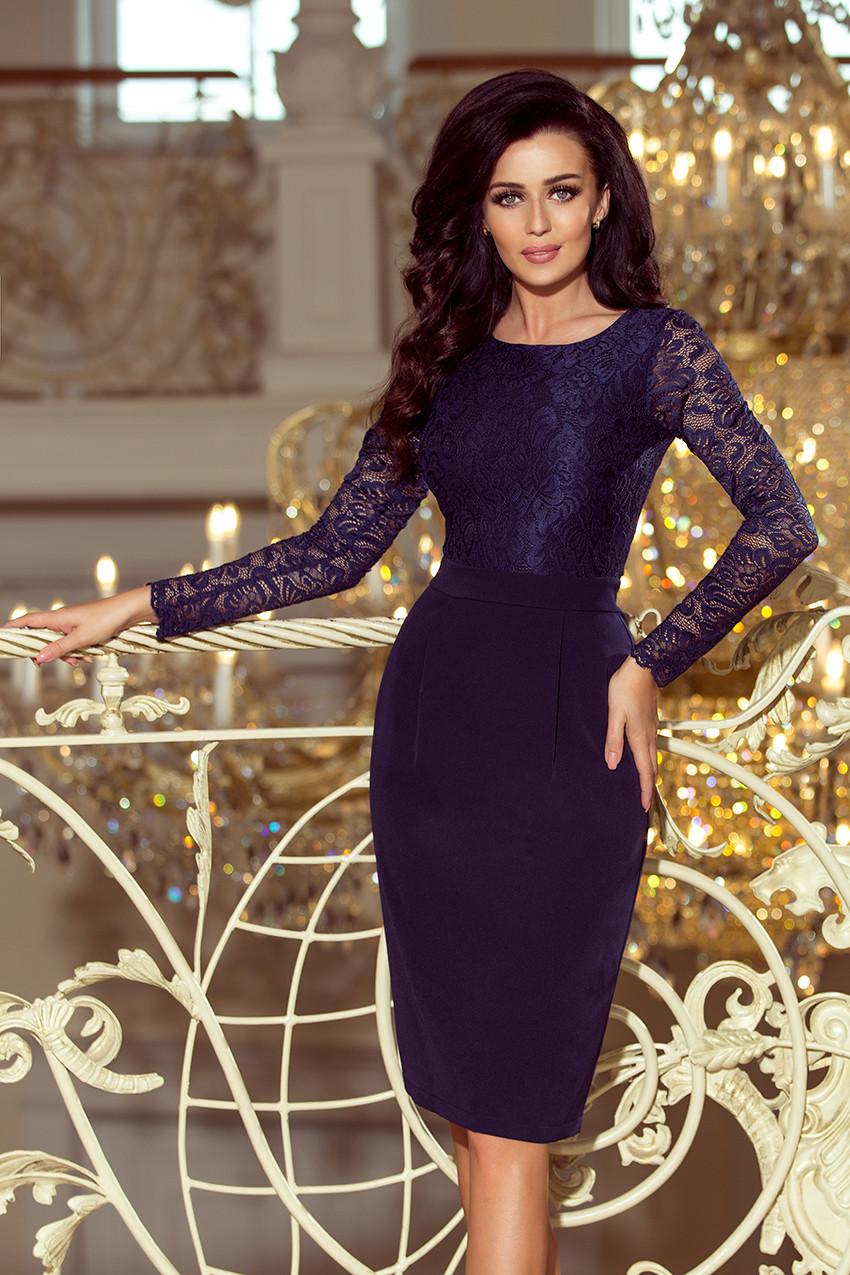 32691f39718d Elegantní dámské tmavě modré tužkové šaty s krajkou 216-1 EMMA L