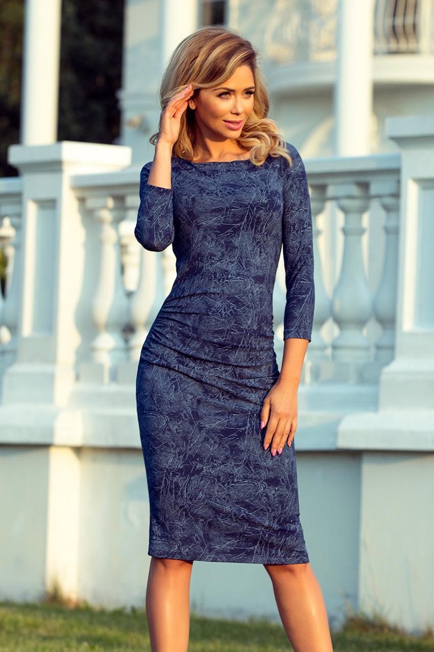 299f5576f1a5 59-9 Dámské šaty s nařasením - džínová barva
