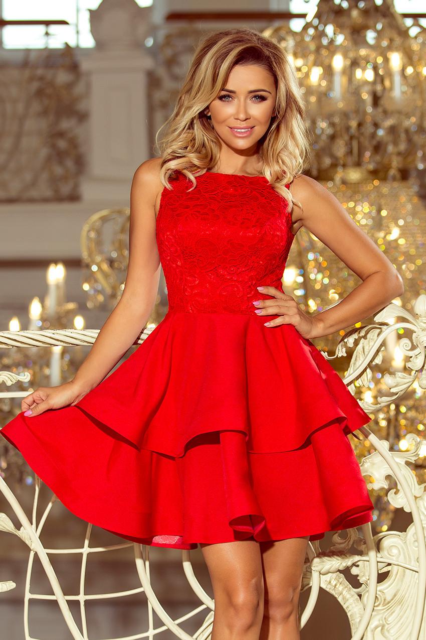 Červené dámske dvojito rozšírené šaty s čipkovou vrchnou časťou 205-1 LAURA L