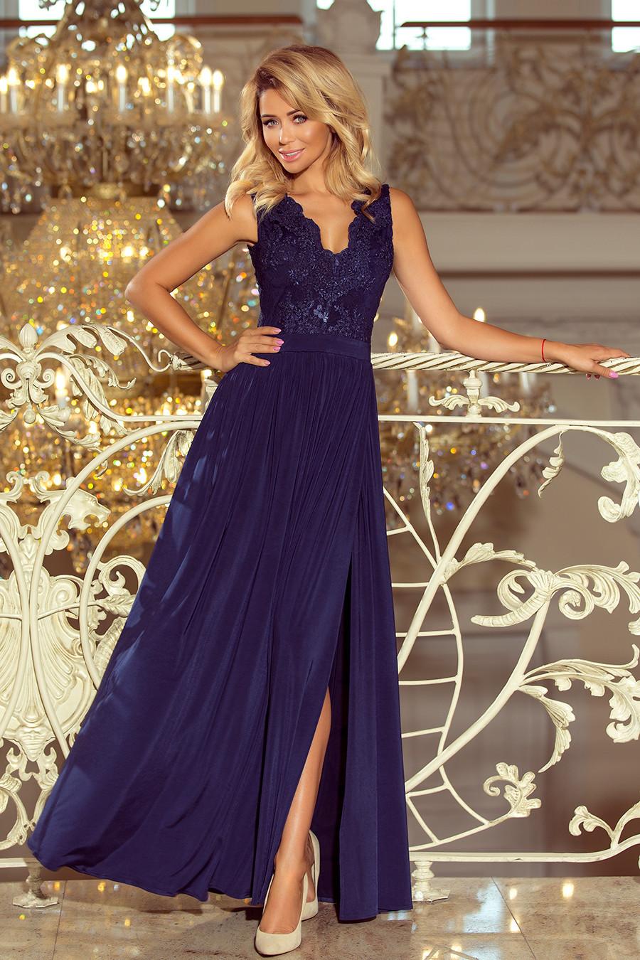 LEA - Dlhé tmavo modré dámske šaty bez rukávov s vyšívaným výstrihom 215-2 S