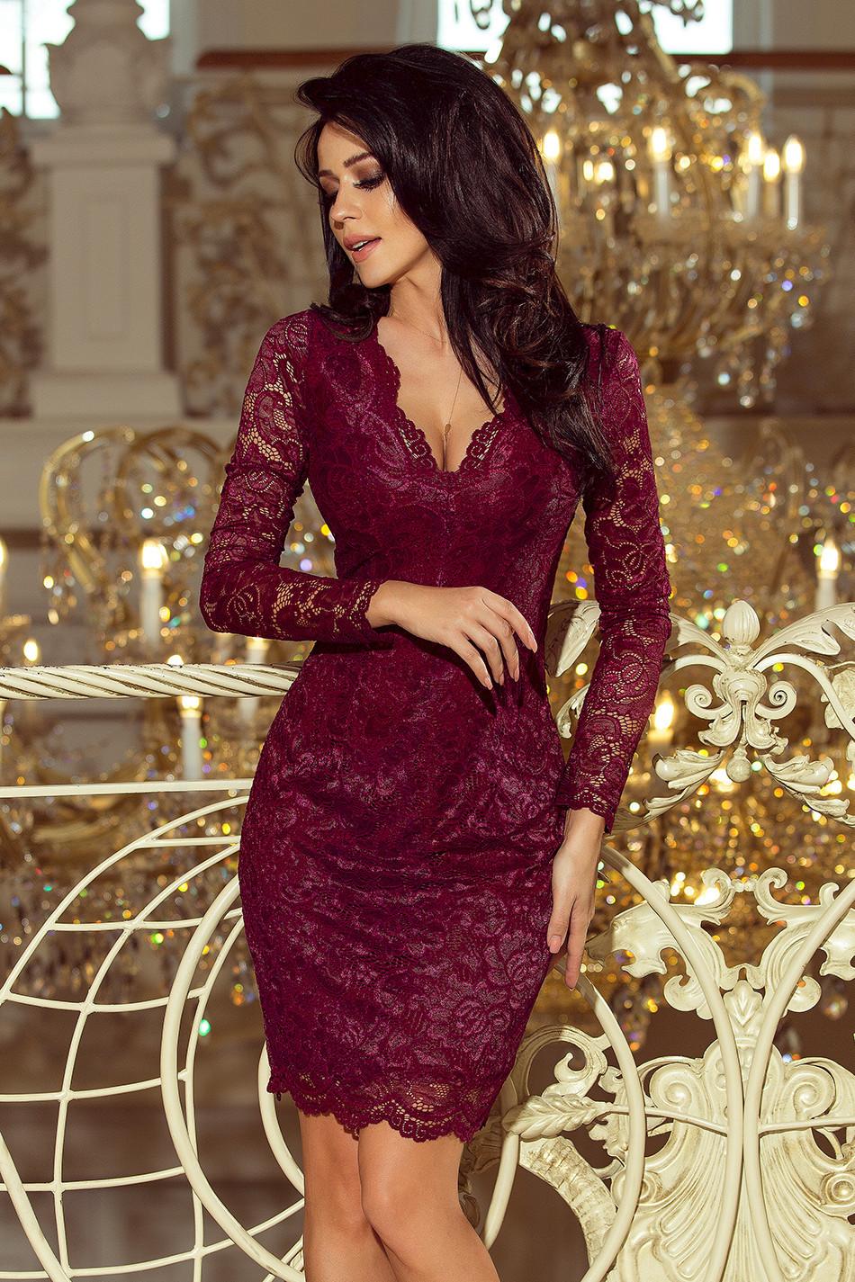 594075f36d1f Dámské krajkové šaty v bordó barvě s dlouhými rukávy a výstřihem 170-5 XXL