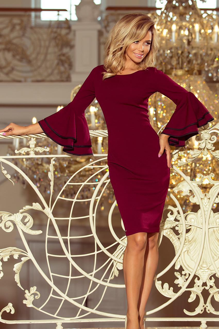 Dámske šaty v bordovej farbe so španielskymi rukávmi 188-3 CARMEN S