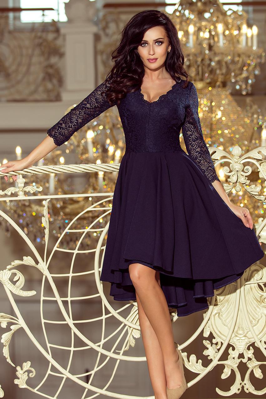 NICOLLE - Tmavo modré dámske šaty s dlhým zadným dielom a čipkovým výstrihom 210-2 S