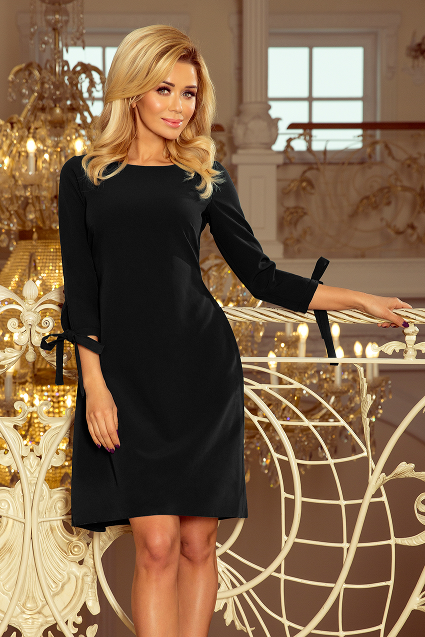 Černé dámské šaty s mašlemi 195-8 ALICE XXL aae2688e64