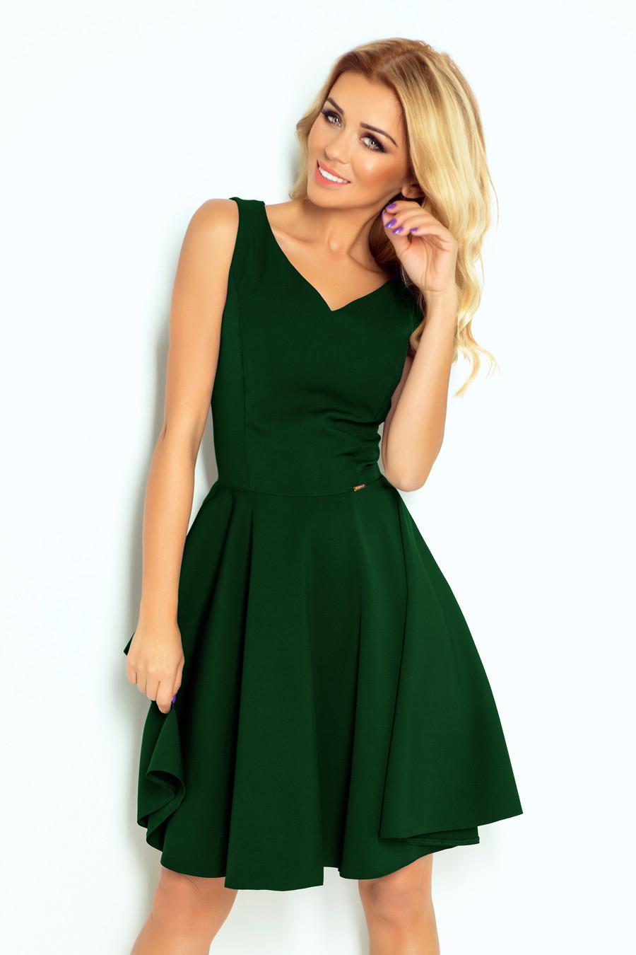 49e796624550 Rozšířené dámské šaty v lahvově zelené barvě s výstřihem ve tvaru srdce  114-10 S
