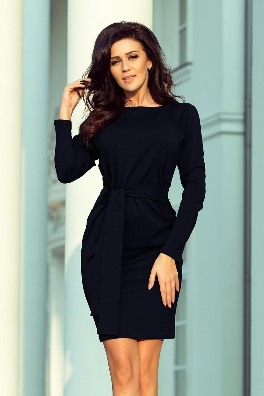 Tmavě modré dámské šaty se širokým páskem k zavazování 209-4 XL 785ca295ae4