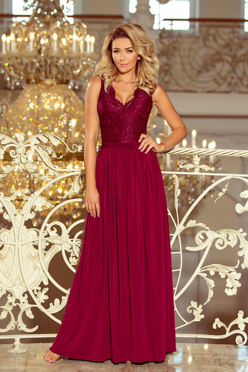 LEA - Dlouhé dámské šaty v bordó barvě bez rukávů 84458da4c2