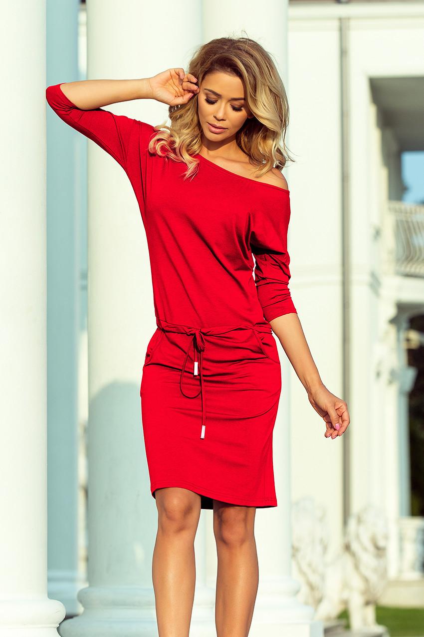 Červené dámské sportovní šaty se zavazováním a kapsami 13-96 S 93bc9f4c6e
