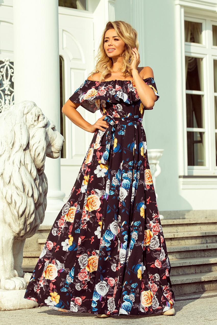 42d7f853060 Dlouhé dámské černé šaty s barevnými květy a španělským výstřihem 194-3 S