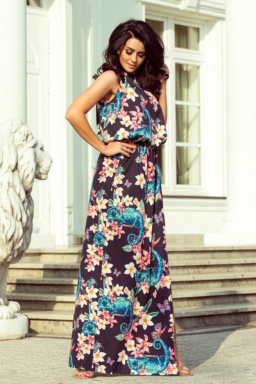 88dbbc0961e Dámské maxi šaty se vzorem chameleonů a květů