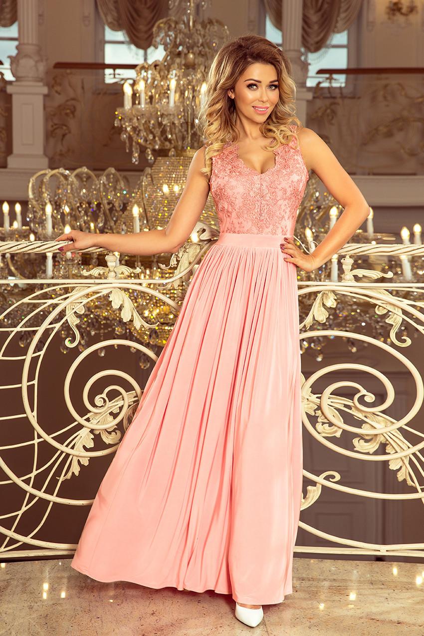 20df59bd04dd LEA - Dlouhé dámské šaty v pastelově růžové barvě bez rukávů a s vyšívaným  výstřihem 215-