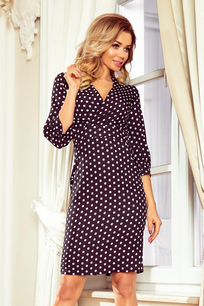 f9eab20046 Černé dámské puntíkované šaty s nadýchanými rukávy 243-1 M