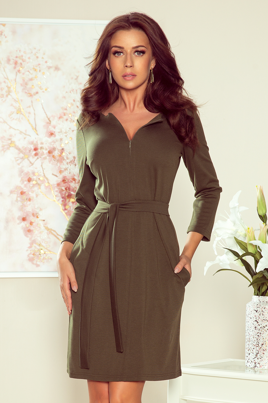 Dámské šaty v khaki barvě se zipem model 7817555 S