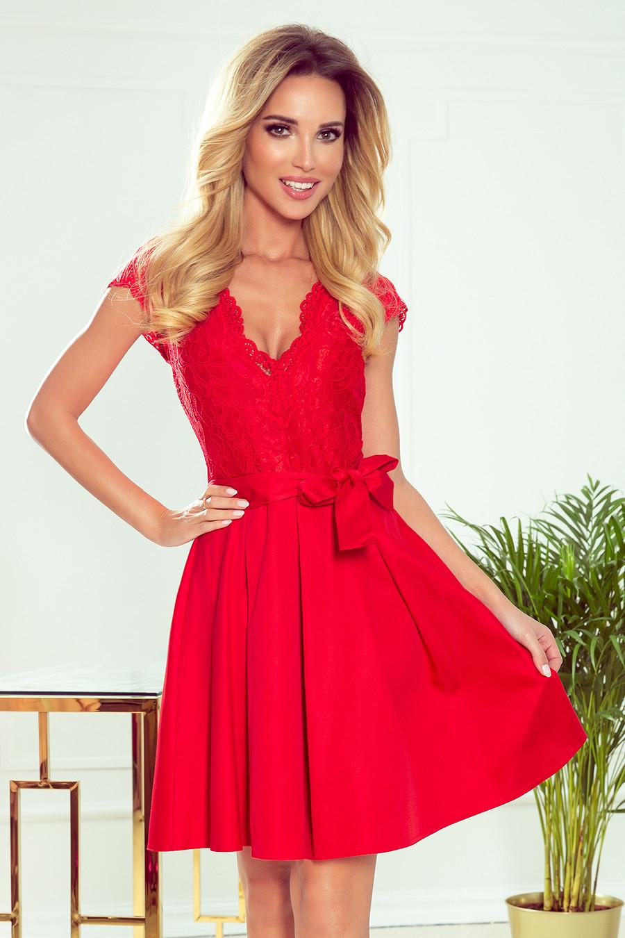 ANNA - Červené dámske šaty s dekoltom a čipkou 242-4 XL