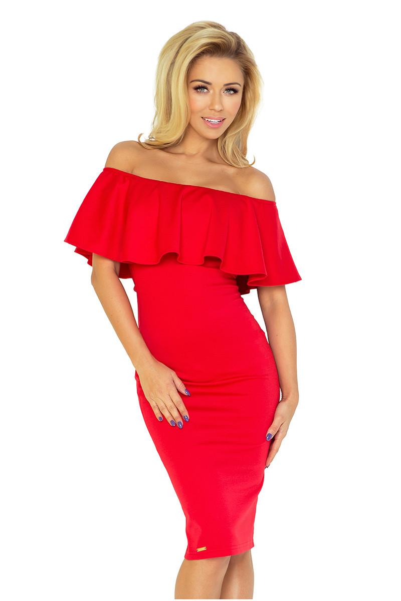 Červené šaty s volánkem 138-2 Varianta: XXL