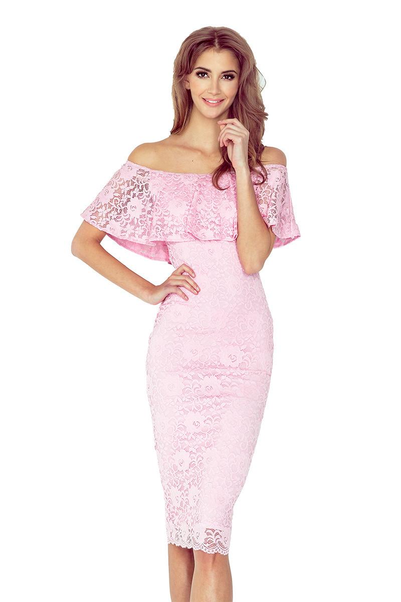 442e6a70a2b2 Pastelově růžové šaty s volánkem MM 013-2 M