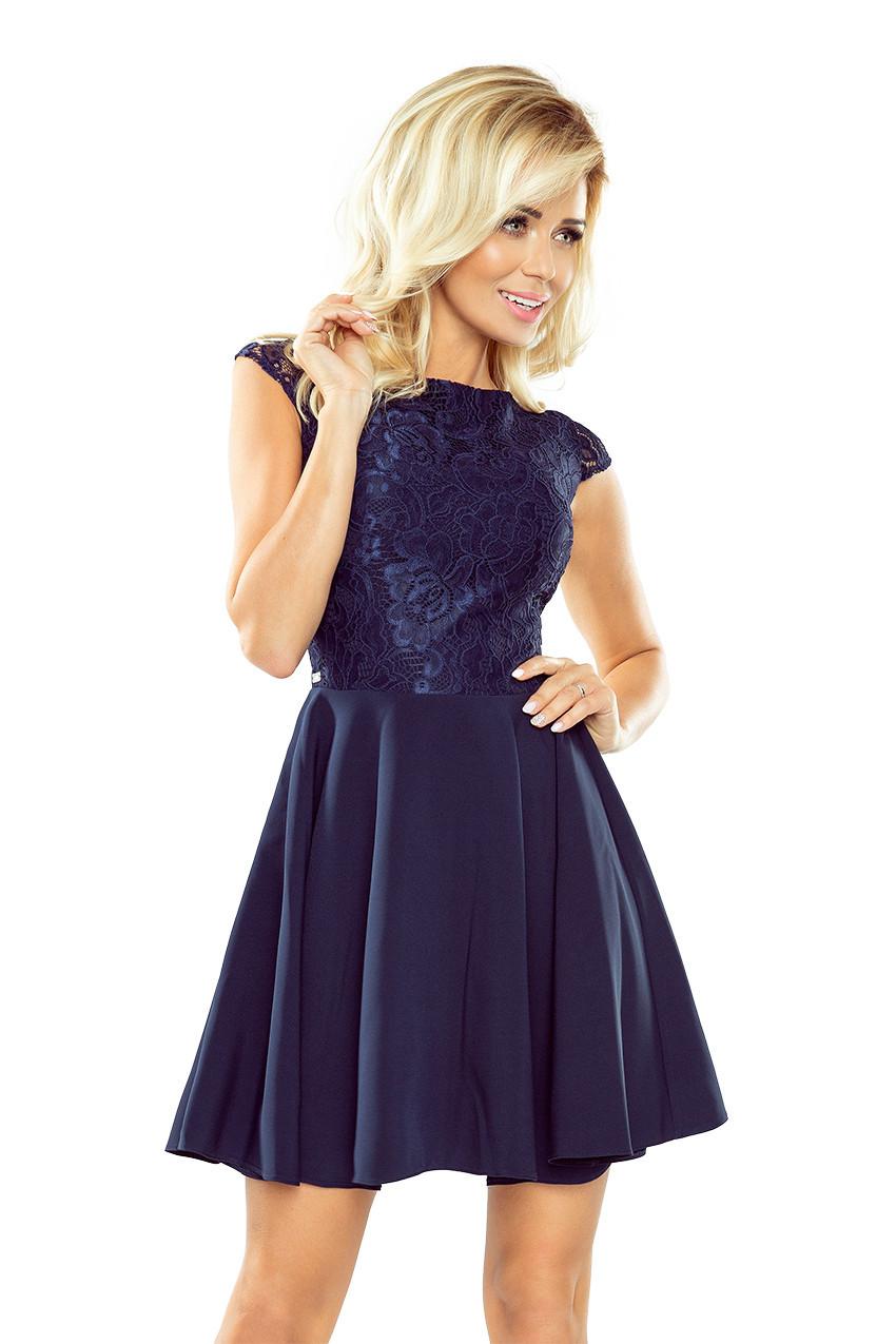 85699410f35 Tmavě modré šaty s krajkou 157-1 S