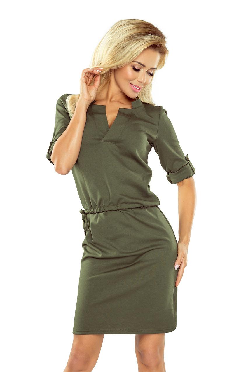 Khaki dámské šaty Agata s límečkem XL