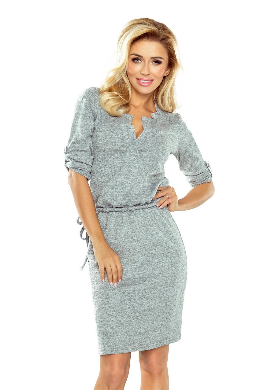 Šedé šaty Agata s límečkem XL