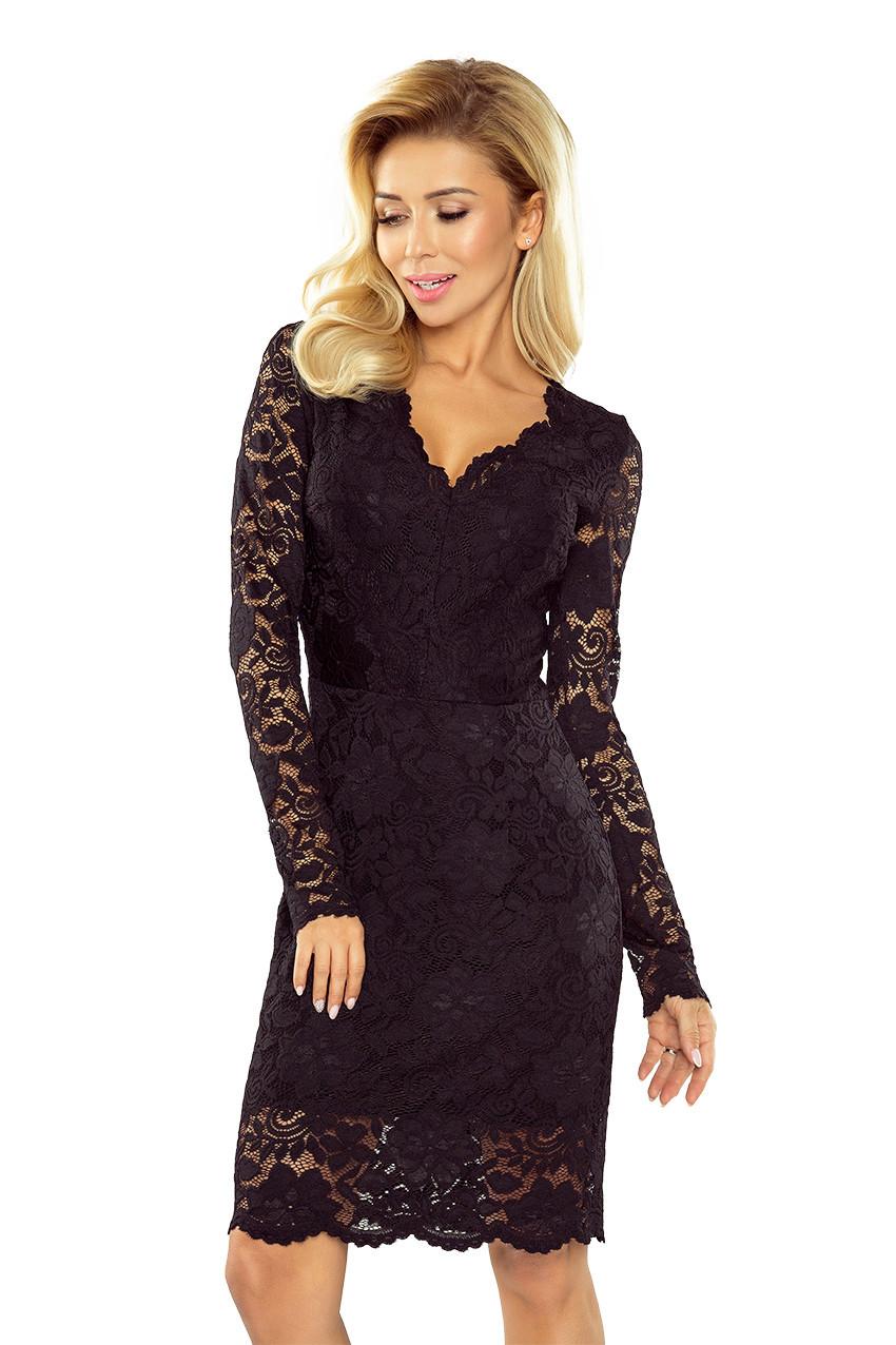 170-1 Čierne čipkované šaty s dlhými rukávmi a výstrihom M