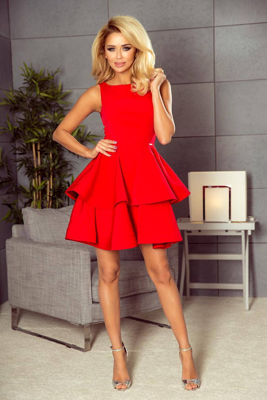 Červené rozšířené šaty 169-1 CRISTINA Varianta: S