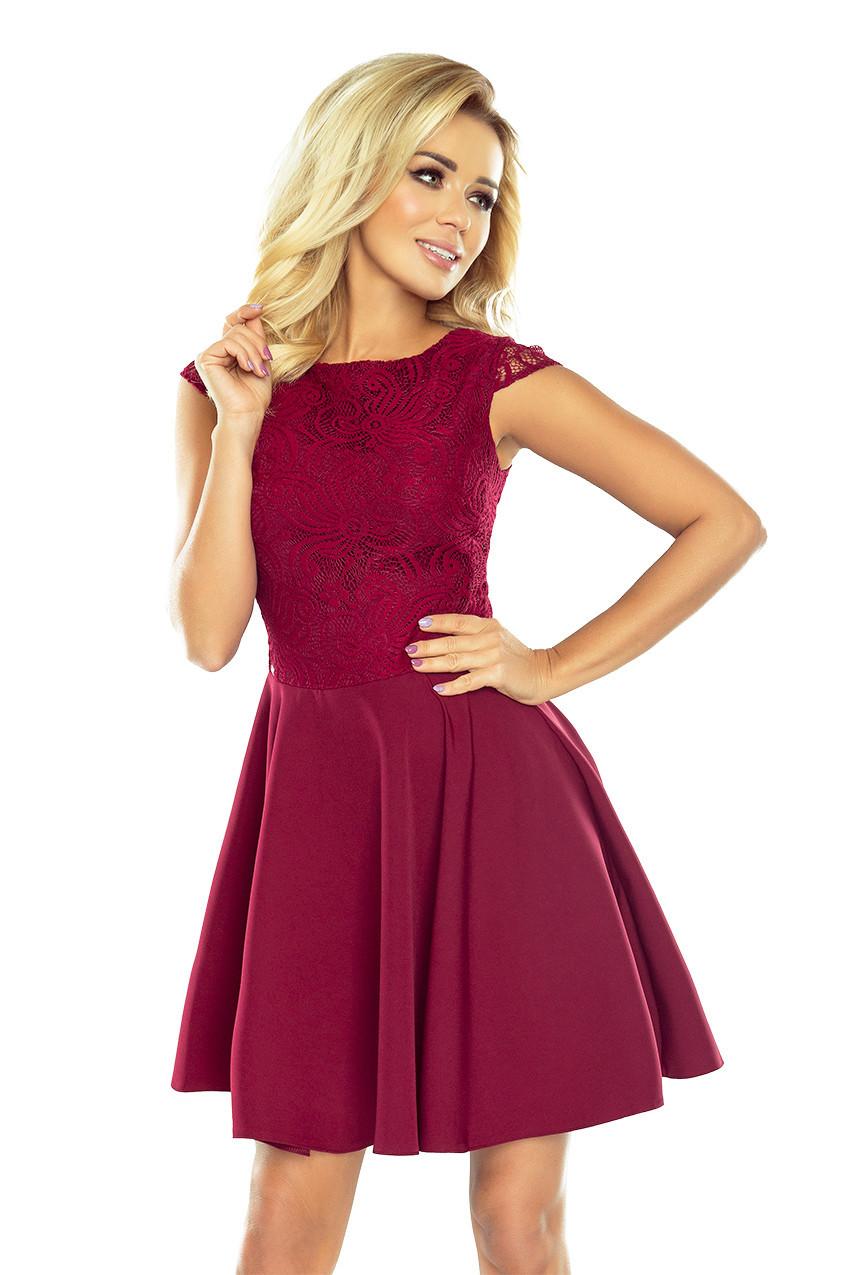 157-3 Rozšířené šaty s krajkou MARTA v bordó barvě Varianta: S