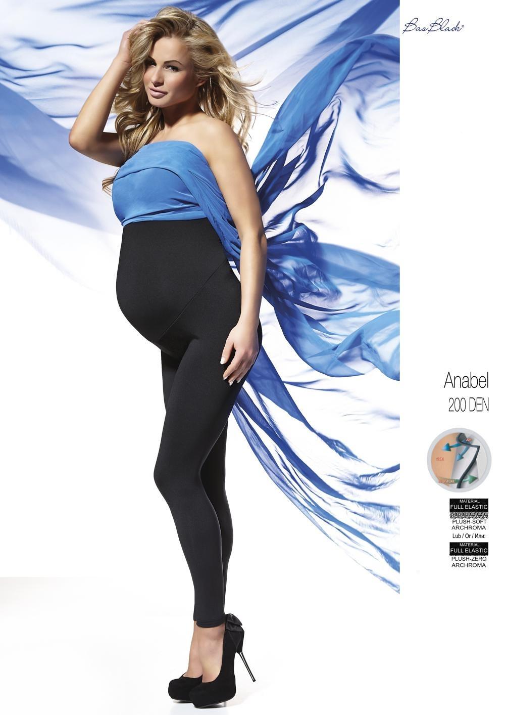 Tehotenské legíny Bas Bleu Anabel 200 deň Polar čierna / čierna 4-L