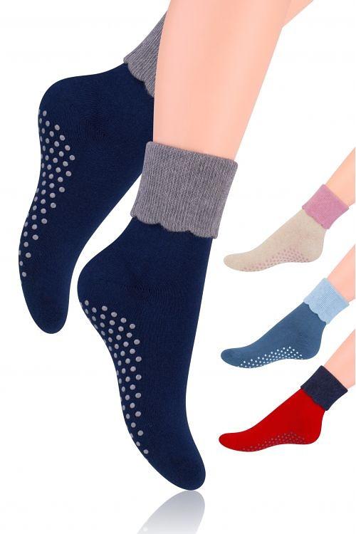 Dámské ponožky Steven ABS art.126 okrová-sv.šedá