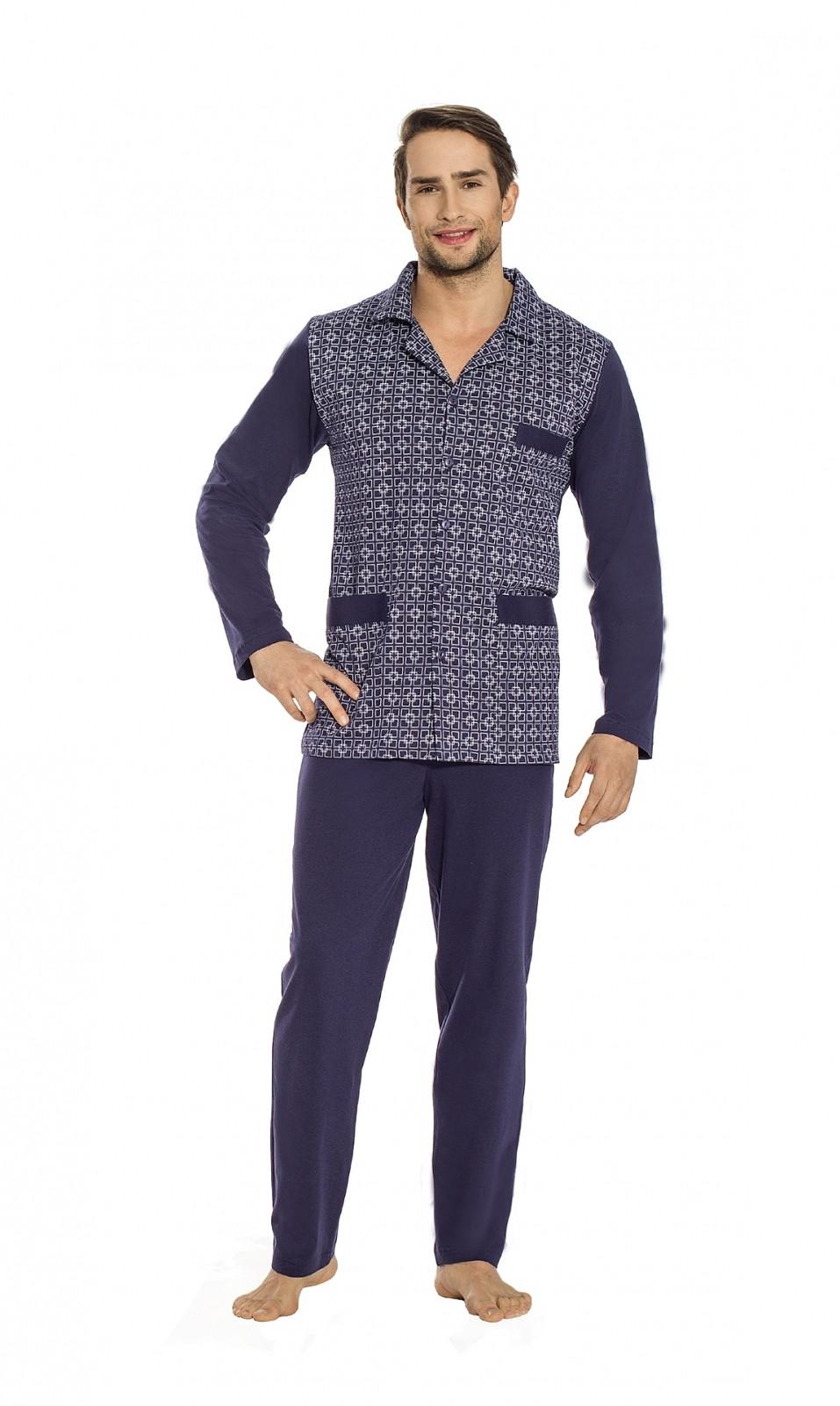 Rozepínané pánské pyžamo Luna 797 M-2XL tmavě šedá XXL
