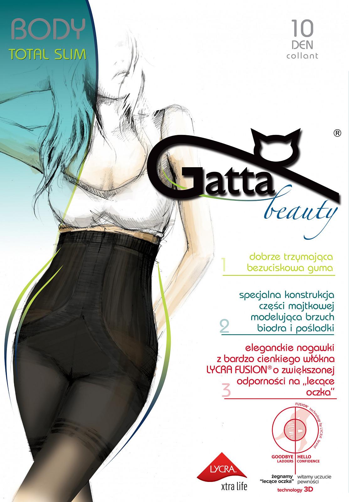 Punčochové kalhoty Gatta Body Totalslim Fusion 10 den Barva: zlatá/odstín béžové, Velikost: 3-M