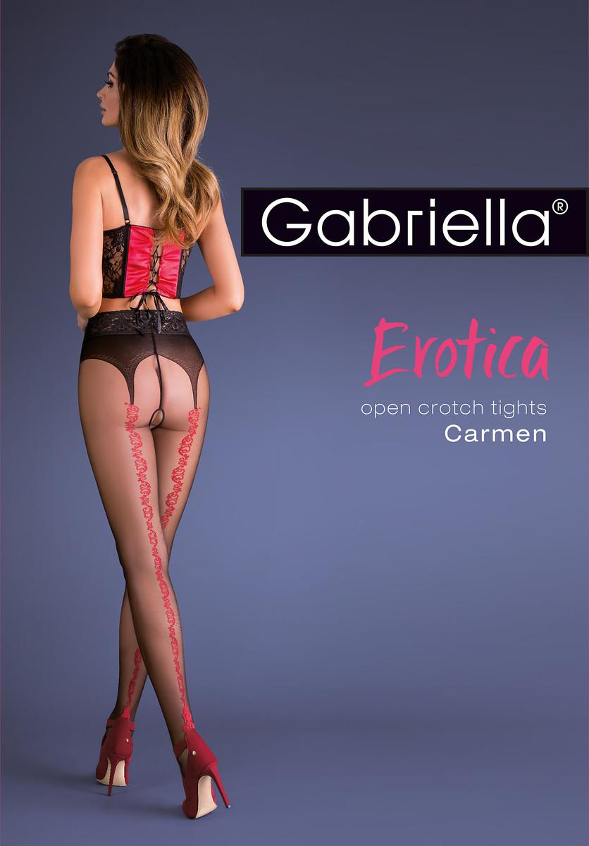Punčochové kalhoty Gabriella Erotica Carmen 667 Barva: nero-red/černá-červená, Velikost: 3/4-M/L