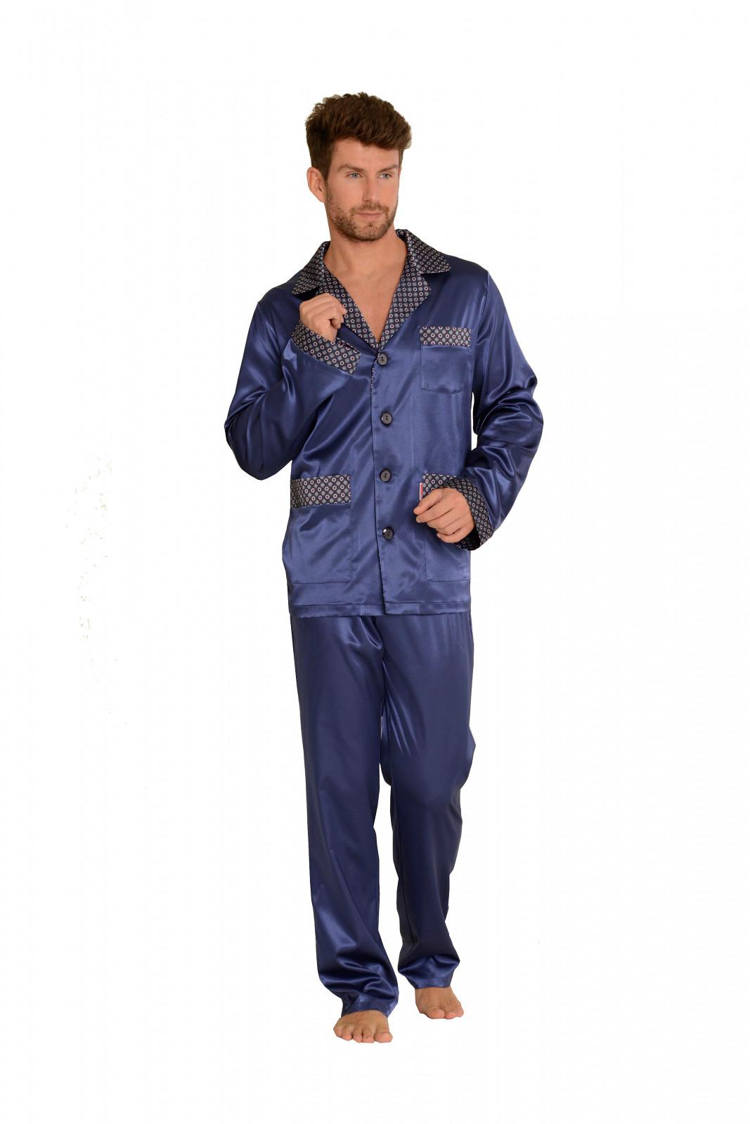 Pánske saténové pyžamo DE LAFENSE 939 tmavě modrá XL