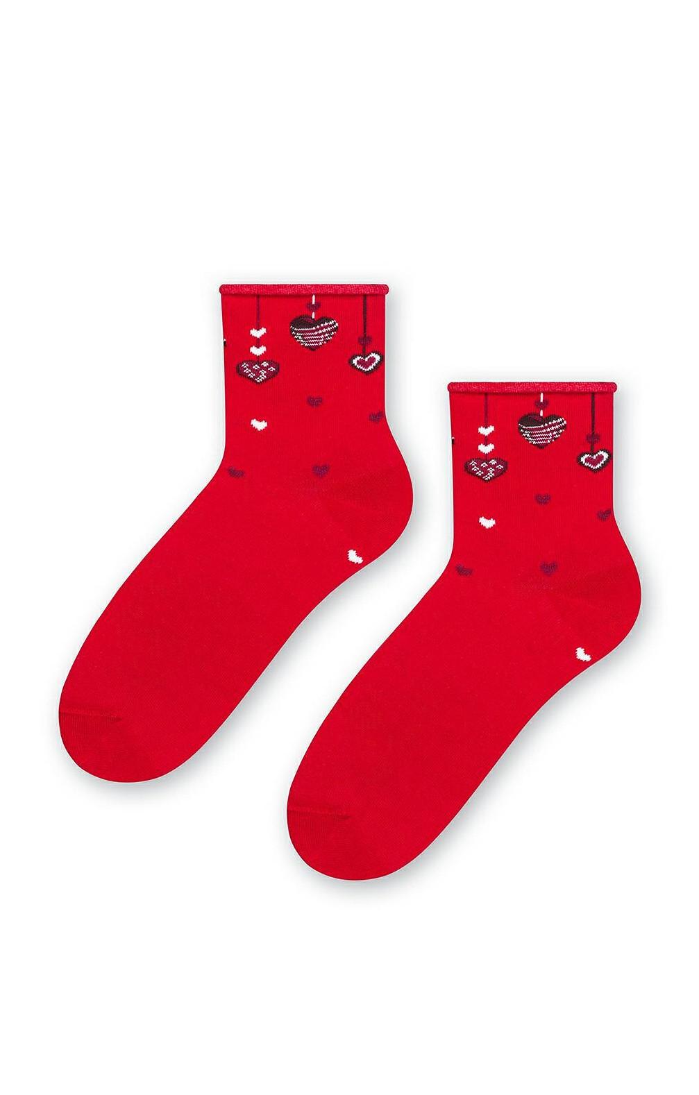 Netlačící dámské ponožky Steven art.136 Srdce tmavě modrá 35-38